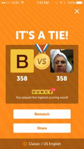 Tie Score in Wordswithfriends